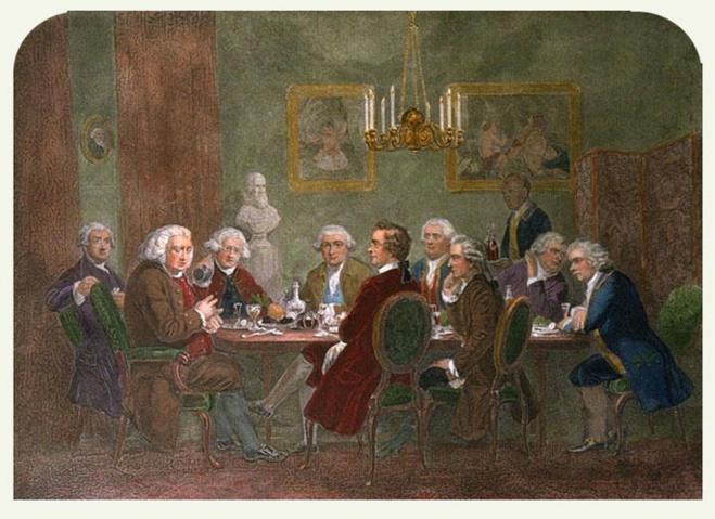 "A pittura si chjama ""A literary party at Sir Joshua Reynolds's"", da l'artistu James Doyle. Da manca à diritta : Boswell, Johnson, Reynolds, Garrick, Burke, Pasquale Paoli, Burney, T. Warton, Goldsmith."