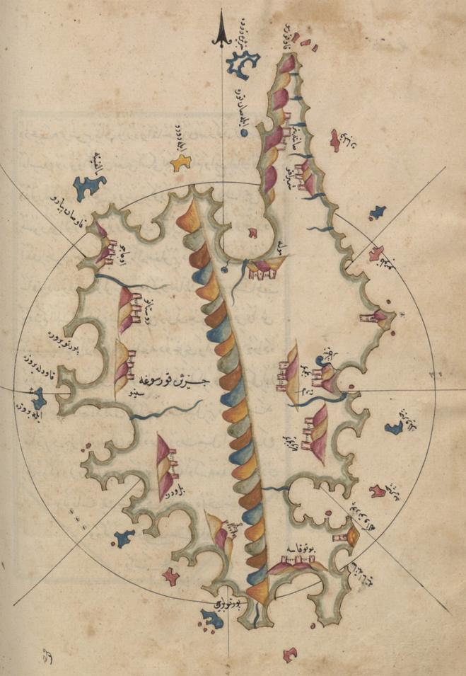 A carta di a Corsica di l'amirale Piri Reis