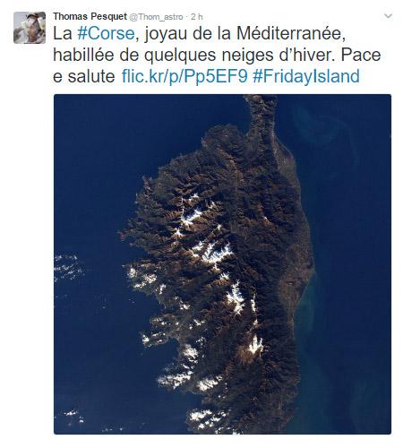 U salutu di Thomas Pesquet à a Corsica