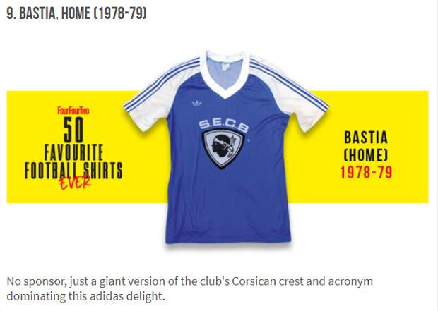 A maglia di Bastia in e 50 più belle di a storia