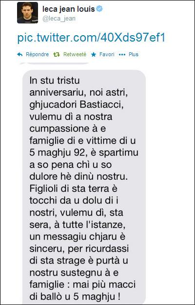 5 maghju 92 : u messagiu di Jean-Louis Leca