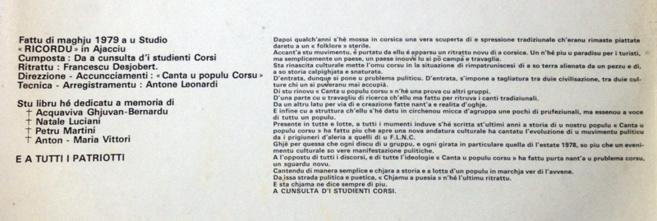 """35 anni fà surtia """"Chjamu a puesia"""""""