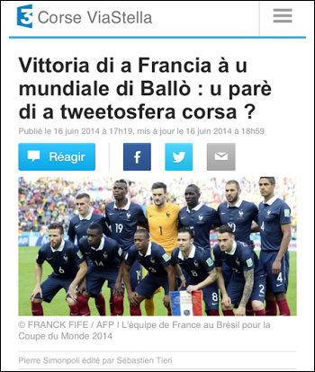 A vittoria di a Francia è a tweetosfera corsa