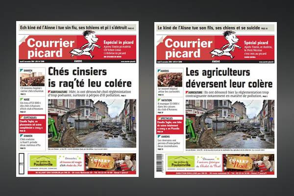 """U cutitianu """"Le Courrier Picard"""" esciutu in lingua picarda... è ind'è noi ?"""