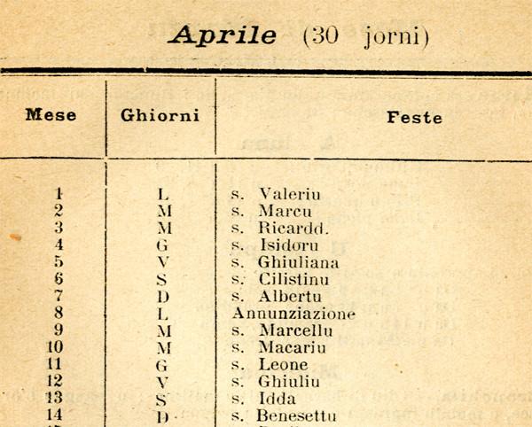 Almanaccu di Maistrale, 1929