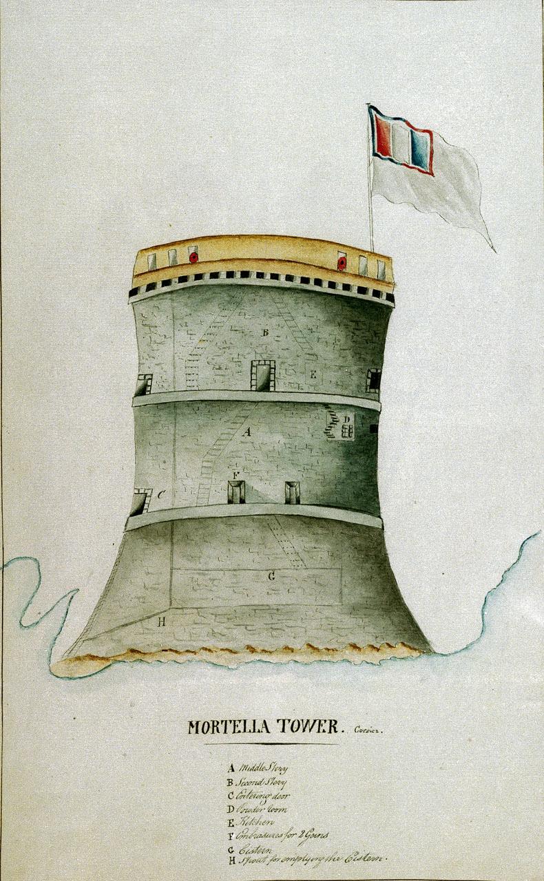 A torra di a Murtella, ducumentu di l'armata inglese / Wikimedia Commons