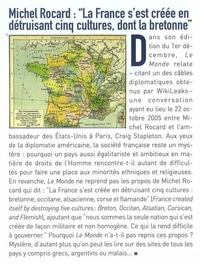 """Rocard : """"A Francia hà distruttu cinque culture, ancu a corsa"""""""
