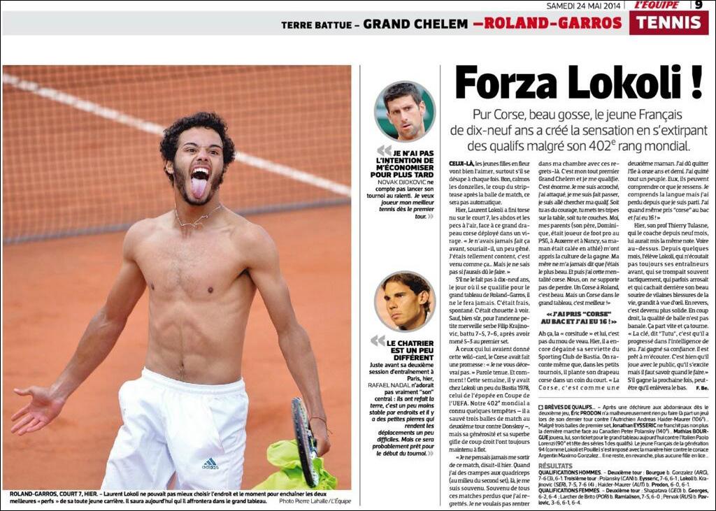Lokoli face sventulà a bandera corsa à Roland Garros