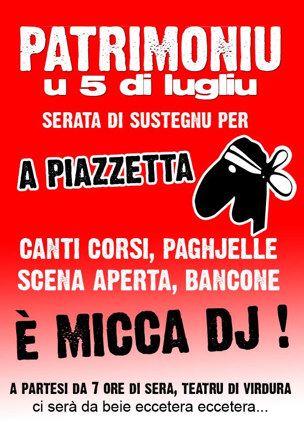 Serata A Piazzetta in Patrimoniu u 5 di lugliu