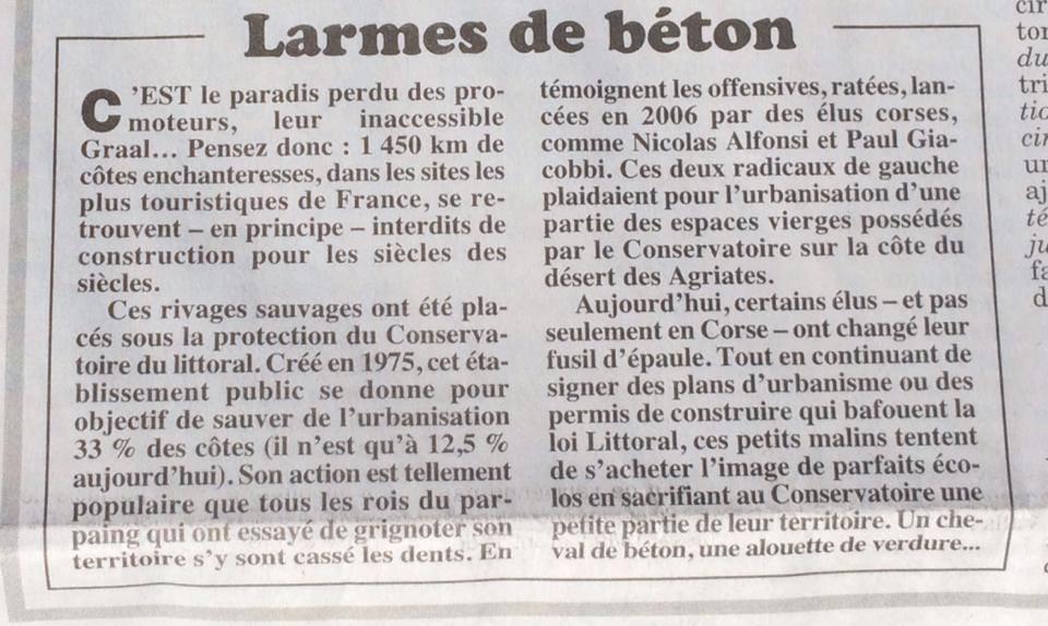 """Le Canard Enchaîné : """"Ces élus qui veulent jeter la loi littoral à la mer"""""""
