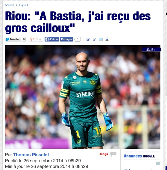 """Riou : """"A Bastia, j'ai reçu des gros cailloux"""""""