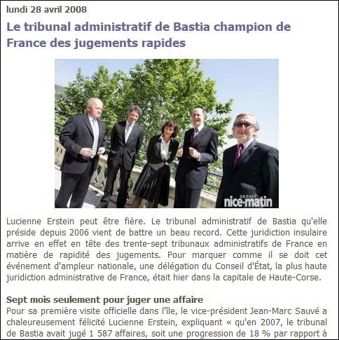Corse Matin : 'u tribunale amministrativu di Bastia campione di Francia di i ghjudizi ràpidi'. È dinù campione di u permessu di bettunizà ?