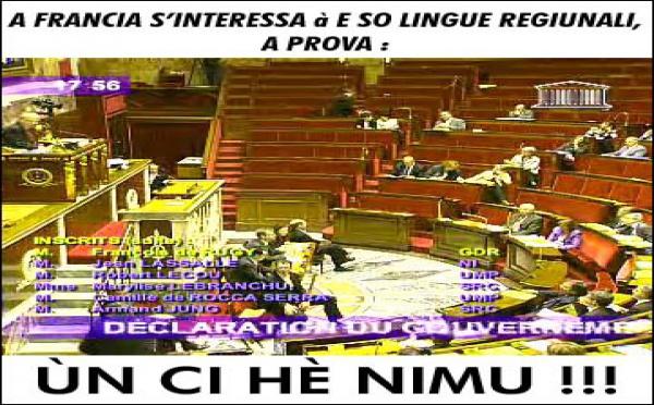 Lingue regiunali à l'assemblea : un dibattitu pè nunda !